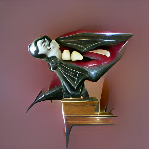 'an art deco sculpture of a vampire' MSE Regulized VQGAN+CLIP