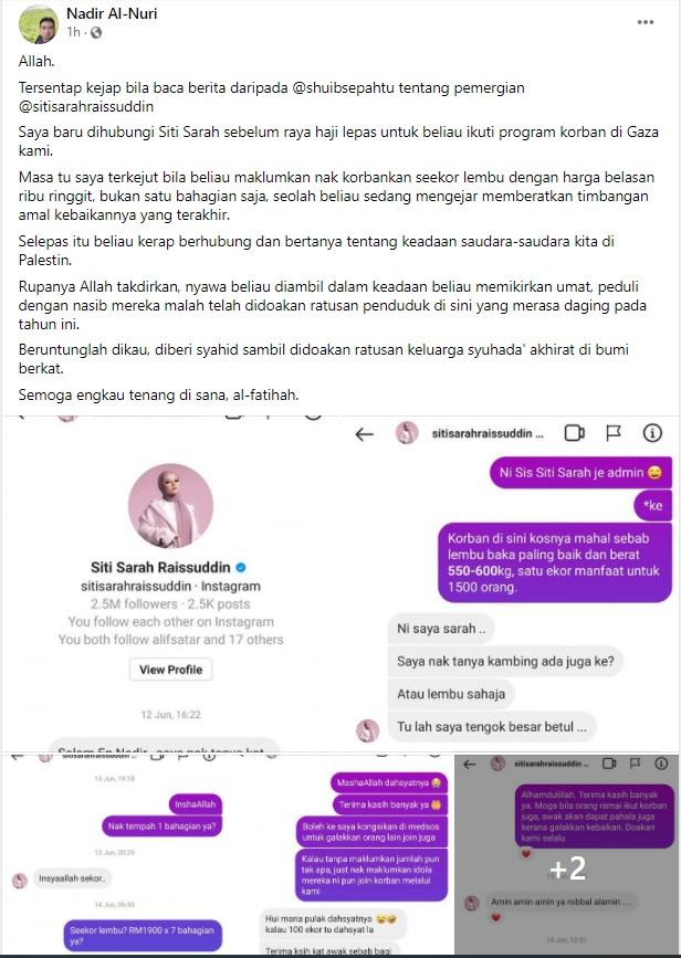 Siti Sarah Raisuddin Meninggal Dunia Pada Jam 5.13 Pagi Akibat Jangkitan Covid-19