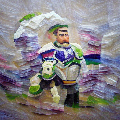'an impressionist painting of Buzz Lightyear made of paper' Sequential VQGAN+CLIP