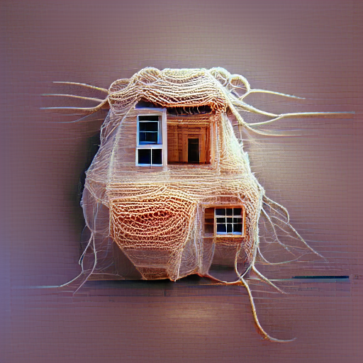 'a house made of string' MSE Regulized VQGAN+CLIP