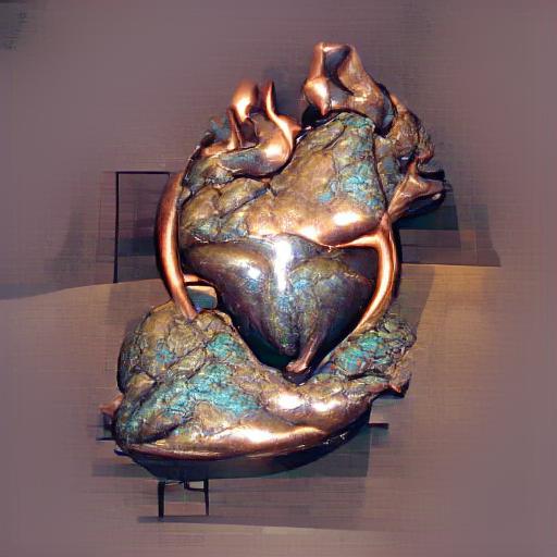 'a bronze sculpture of a heart' MSE Regulized VQGAN+CLIP