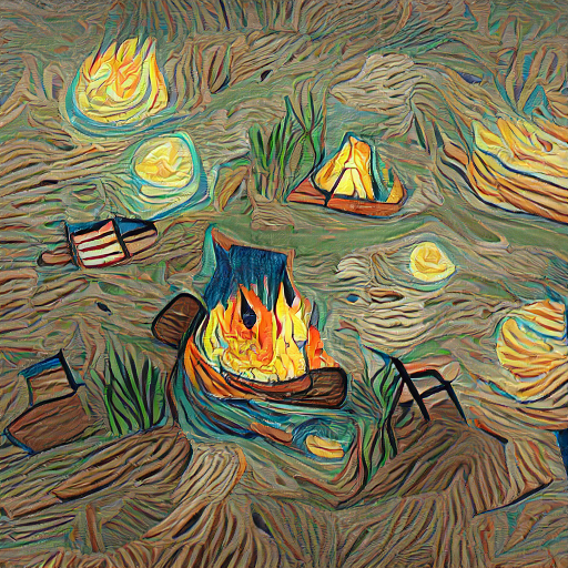 'a campfire in the style of Vincent van Gogh' Sequential VQGAN+CLIP