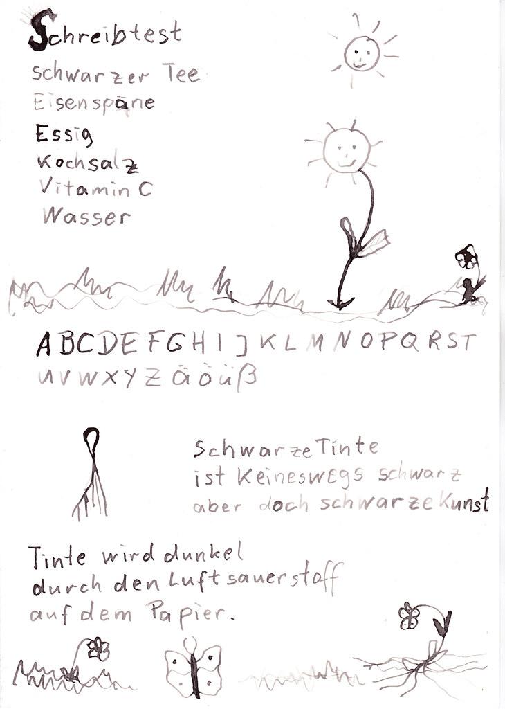 Eisen-Gallus-Tinte Schreibtest