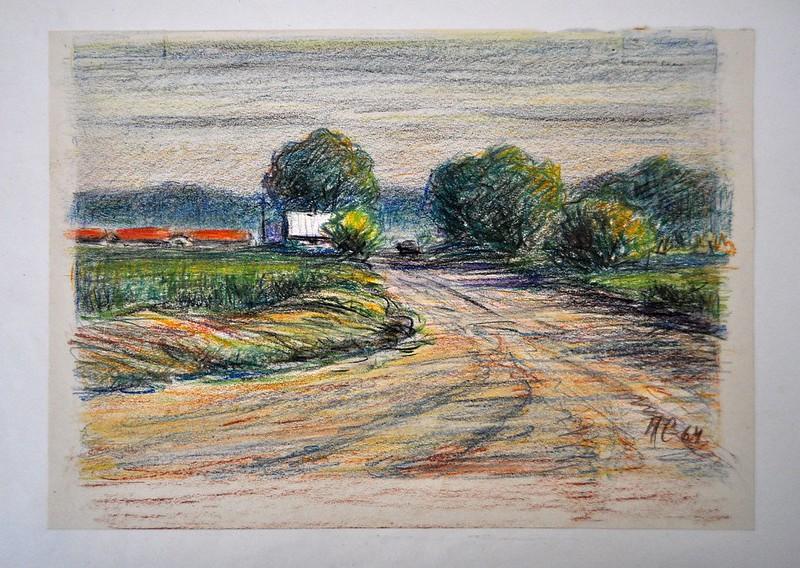 Сліпченко М. Ф. м.Любеч. Дорога до ферми (1964) папір, пастель