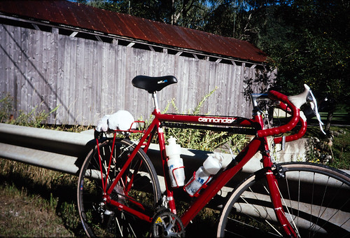 Cannondale Bicycle At Covered Bridge