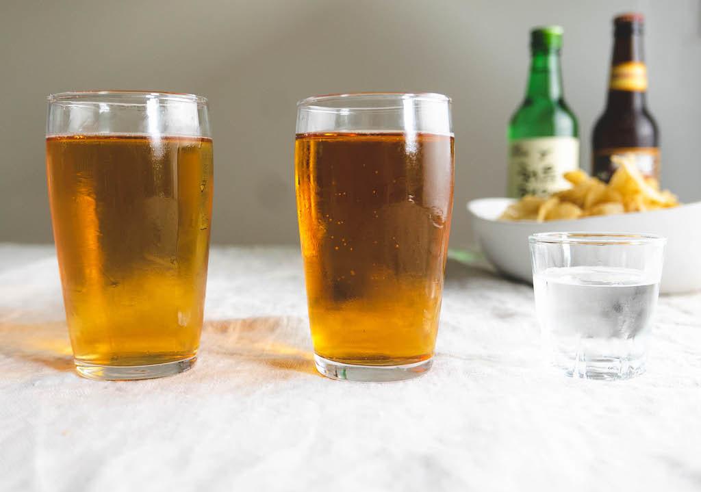 Somaek, soju, and beer lined up.