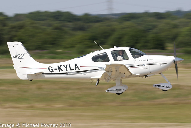 G-KYLA - 2010 build Cirrus SR22 GTS, departing from Runway 08R at Barton