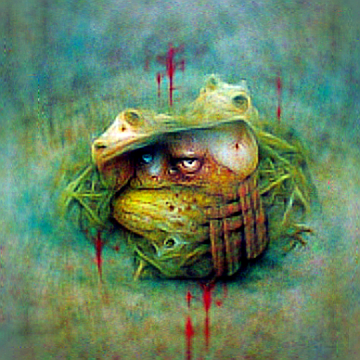 'a frog in the style of Beksinski' CLIPRGB ImStack