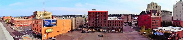 panoramic view of downtown Spokane