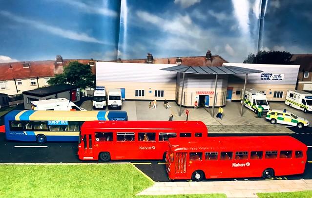 1:76 scale diorama - Mossend District General Hospital with B253 BYS & Y182 BGB.