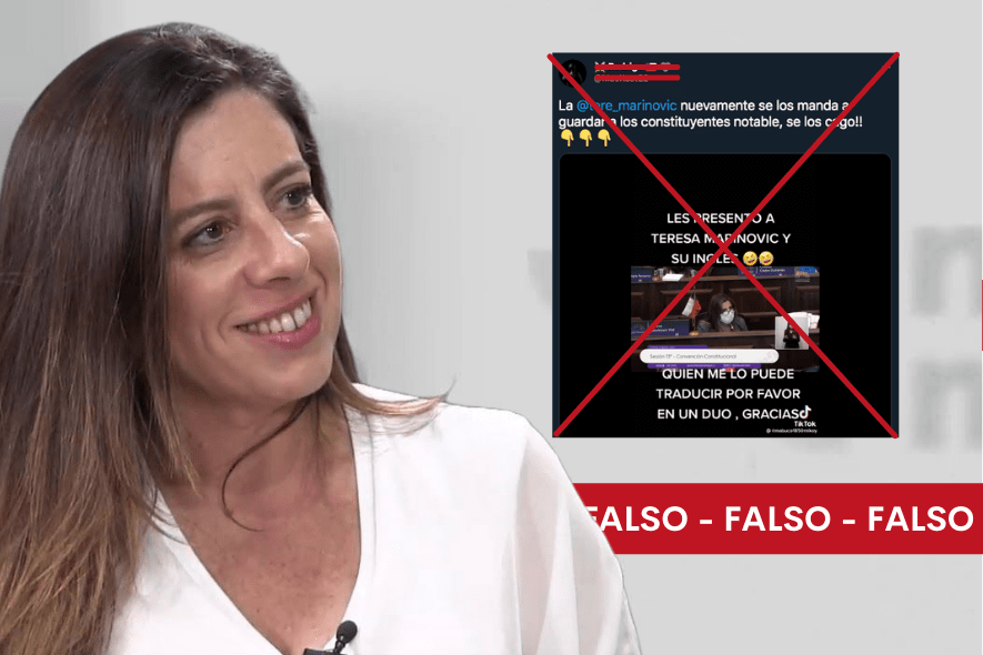 Es falso el video en el que se escucha a la constituyente Teresa Marinovic hablar inglés durante sesión de la Convención