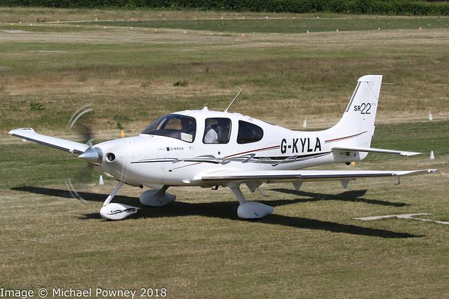 G-KYLA - 2010 build Cirrus SR22 GTS, taxiing for departure at Barton