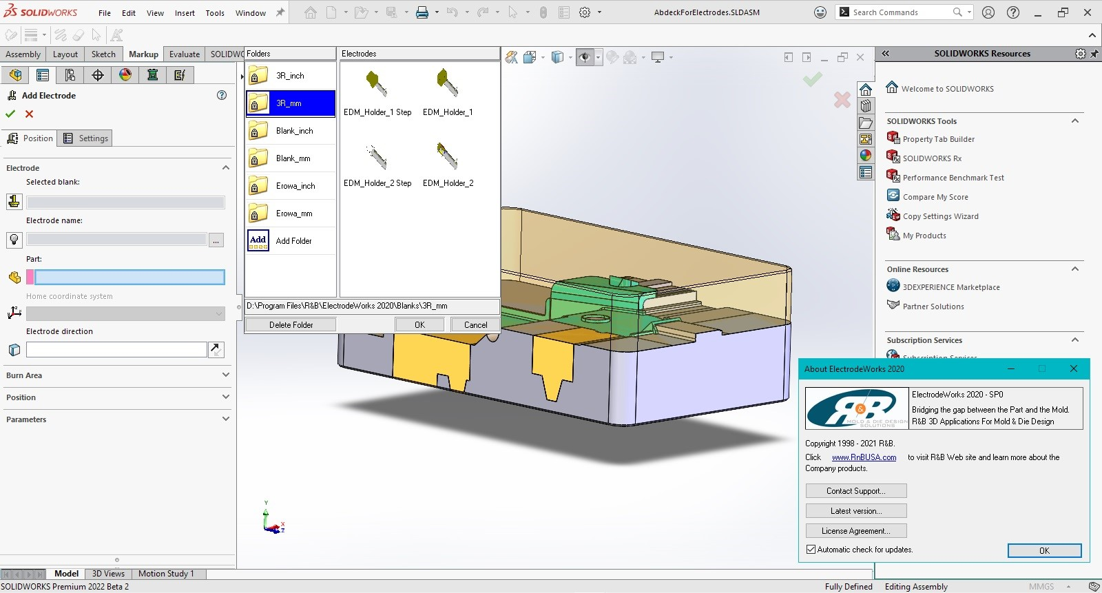 Working with R&B ElectrodeWorks 2020 SP0 for SolidWorks 2015-2022 Win64
