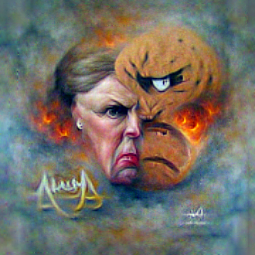 'a fine art painting of an angry person' CLIPRGB ImStack