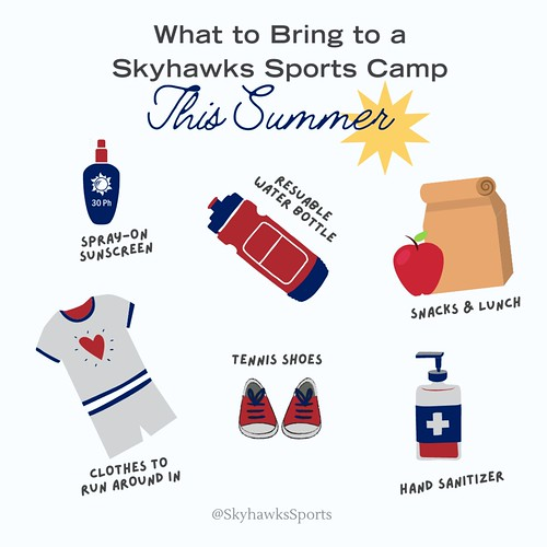 Graphic displaying the different things to bring to camp, a water bottle, lunch, shoes, athletic clothes, and sunscreen.