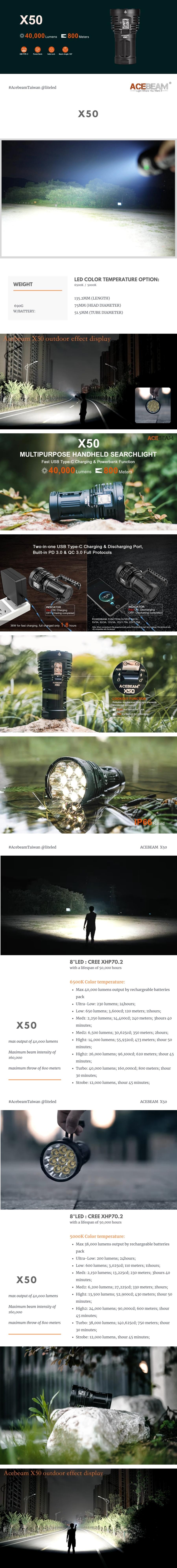 【錸特光電】ACEBEAM X50 40000 流明 強光遠射搜索LED泛光手電筒 QC3快充 USB-C充電 探照燈 (2)