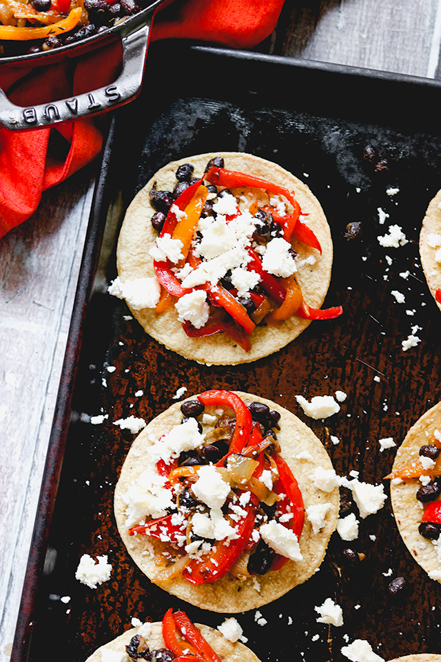 Quick Black Bean Tostadas with Peppers and Onions