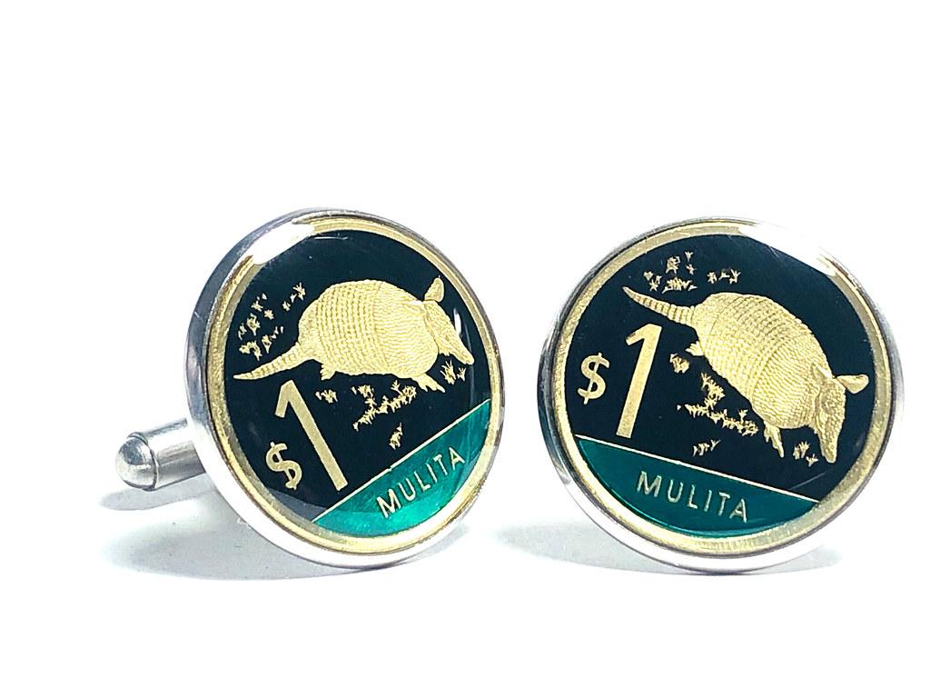 IMG_9686  Uruguay  coin cufflinks ,1 Peso Uruguayo, Mulita (Dasypus hybridus) ,20mm.