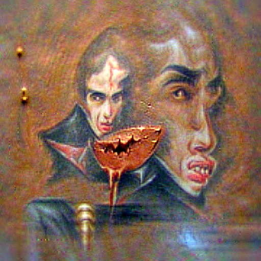 'a pointalism painting of a vampire made of copper' CLIPRGB ImStack