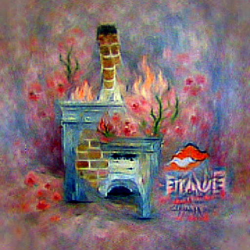 'a fireplace in the style of Claude Monet' CLIPRGB ImStack