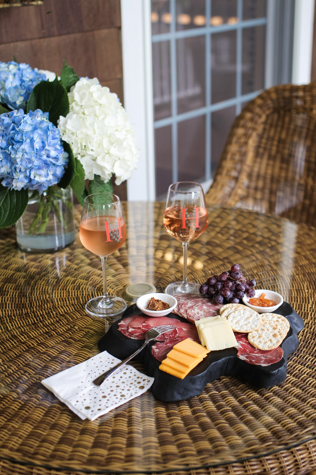 Charcuterie Board and Pindar Vineyards Rose