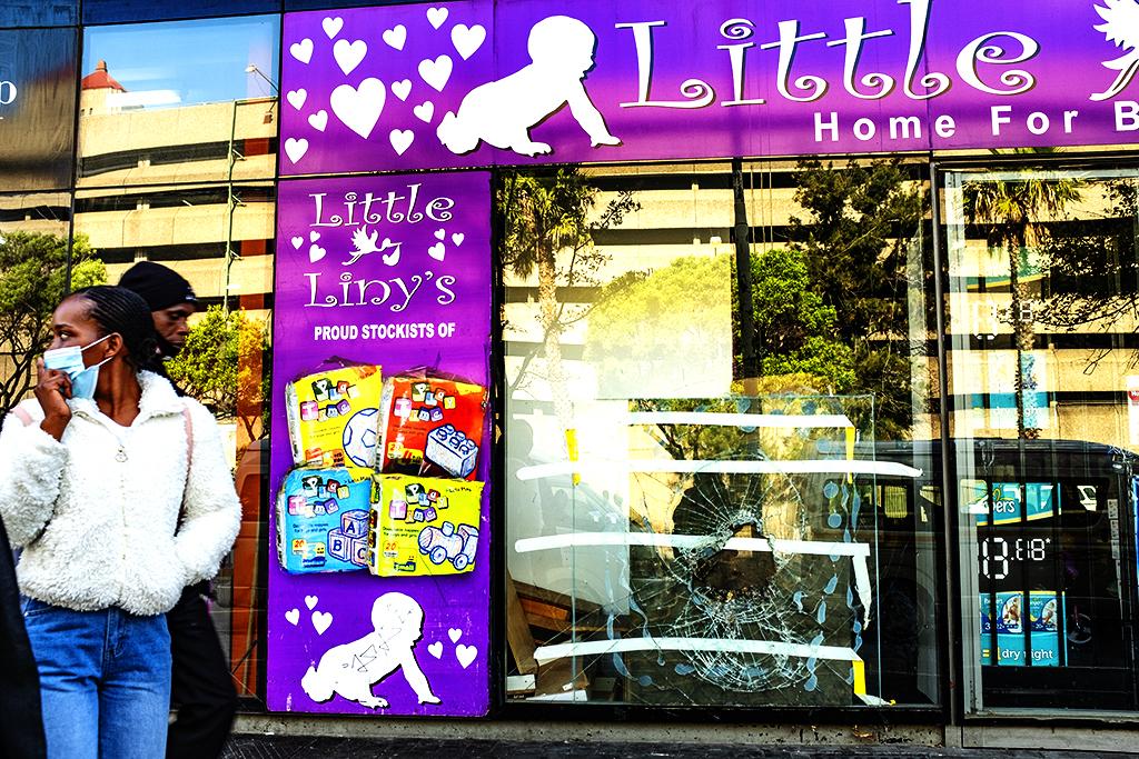 Broken shop window on 8-11-21--Cape Town