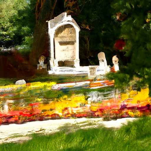 'an impressionist painting of a cemetery' CLIP Guided Diffusion v4 Text-to-Image