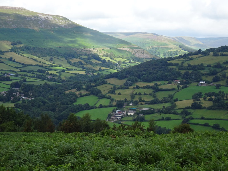 Sugar Loaf Circular: Looking towards Llanbedr - when you see the farm, you're ready to turn right onto the ridge