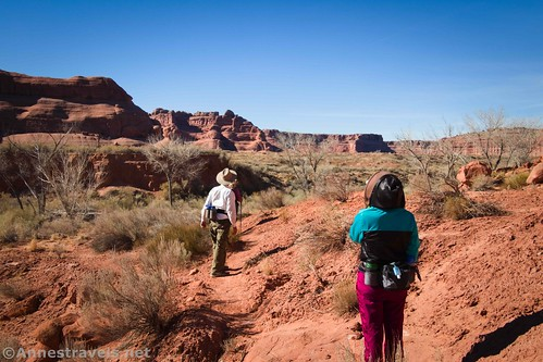 On the social trail down to Courthouse Wash.  The deep shadow just off-center is Ring Arch.  Arches National Park, Utah