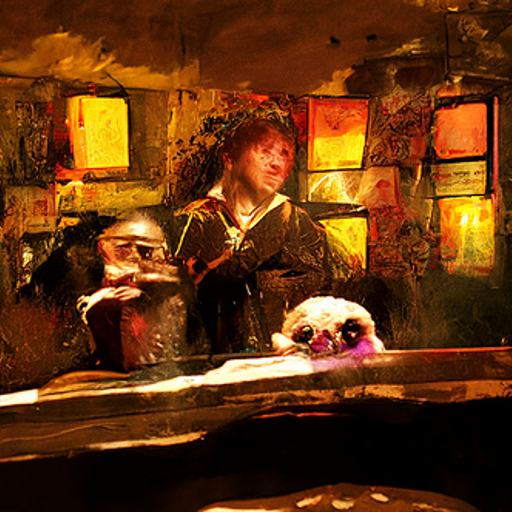 'Harry Potter in the style of Rembrandt' CLIP Guided Diffusion v4 Text-to-Image
