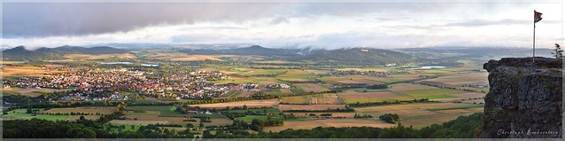 Blick vom Staffelberg auf Bad Staffelstein und zum Kloster Banz