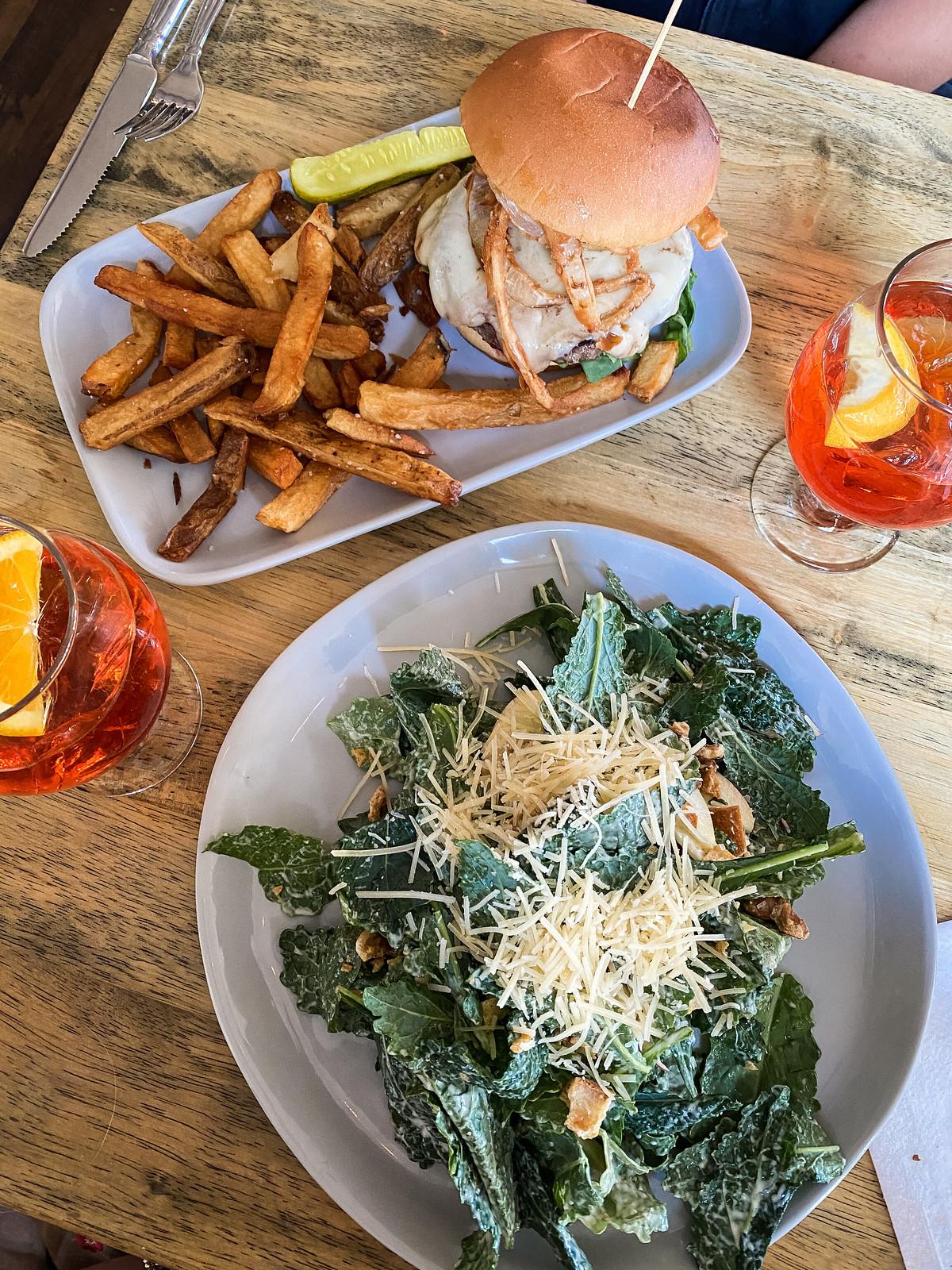 Kale Caesar Salad & Really Good Burger