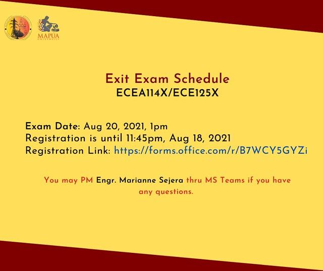 Exit Exam: ECEA114X/ECE125X
