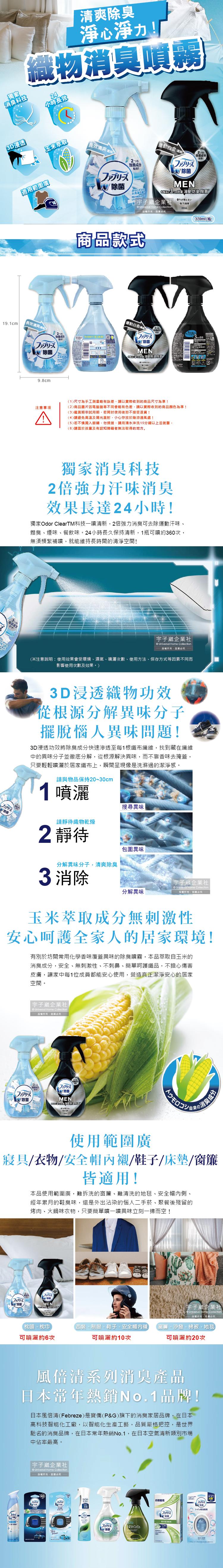 (清潔-除臭)日本Febreze-風倍清-織物消臭噴霧370ml瓶裝介紹圖