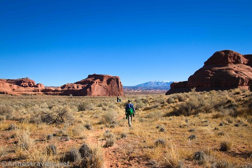 Hiking across the meadow back toward where we parked near Courthouse Wash, Arches National Park, Utah