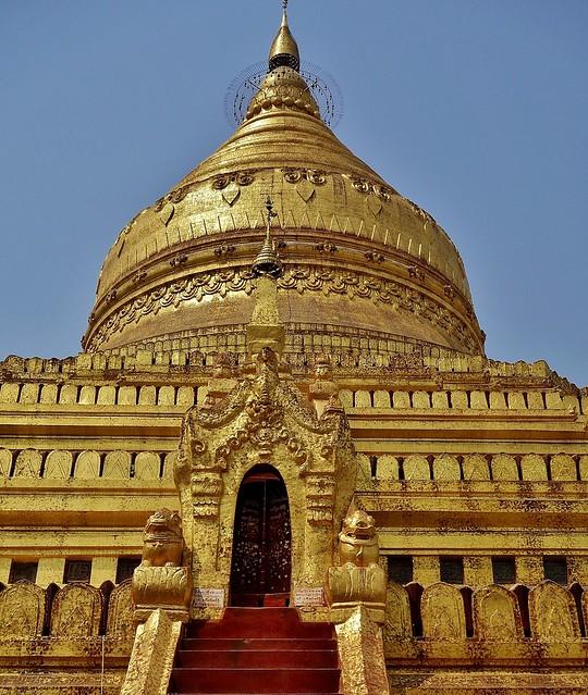 MYANMAR, Burma - Bagan-Nyaung U ,rund um die Shwezigon-Pagode, Stupa, 78420/13934
