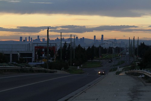 Looking back on the Melbourne CBD from the Boundary Road rail bridge in Truganina