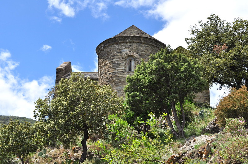 Prieuré Ste Marie de Serrabona, XIe siècle, Boule d'Amont, Pyrénées orientales, Roussillon, Occitanie, France.