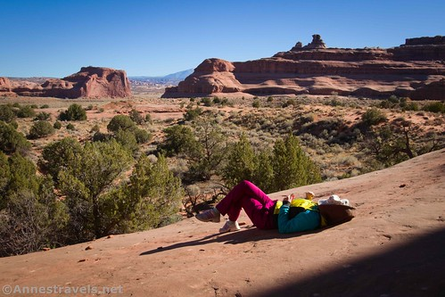 The obligatory photo of one of my group members chilling over lunch.  Arches National Park, Utah