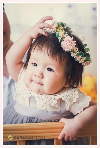1才記念のバースデーフォト お花の冠
