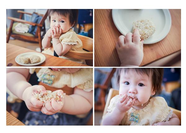 おむすびを食べる1歳の女の子 大胆な食べ方♡