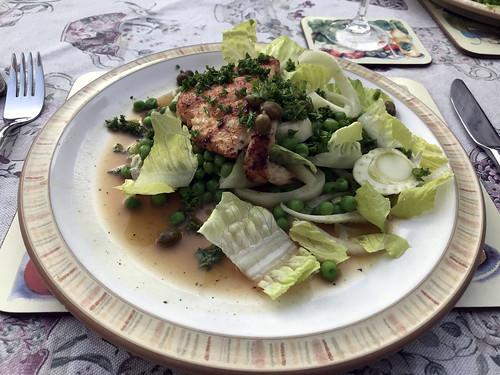 Chicken Piccata Escalope with Fennel & Pea Salad