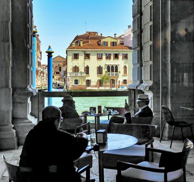 People in caffe' of Ca' Pesaro Museum---Venice