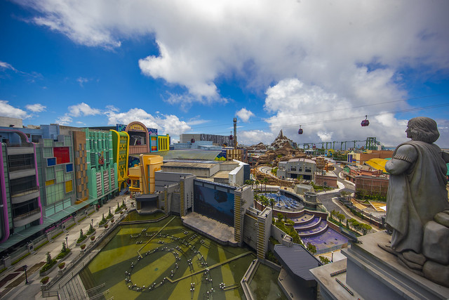 Genting SkyWorlds Theme Park's aerial view overlooking the Lake of Dreams