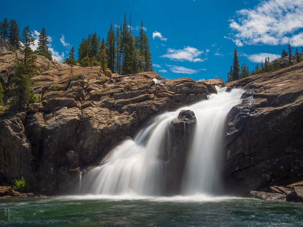 Blue Skies Over the White Cascade