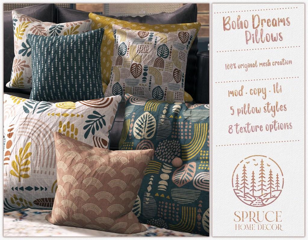 .spruce. boho dreams pillows