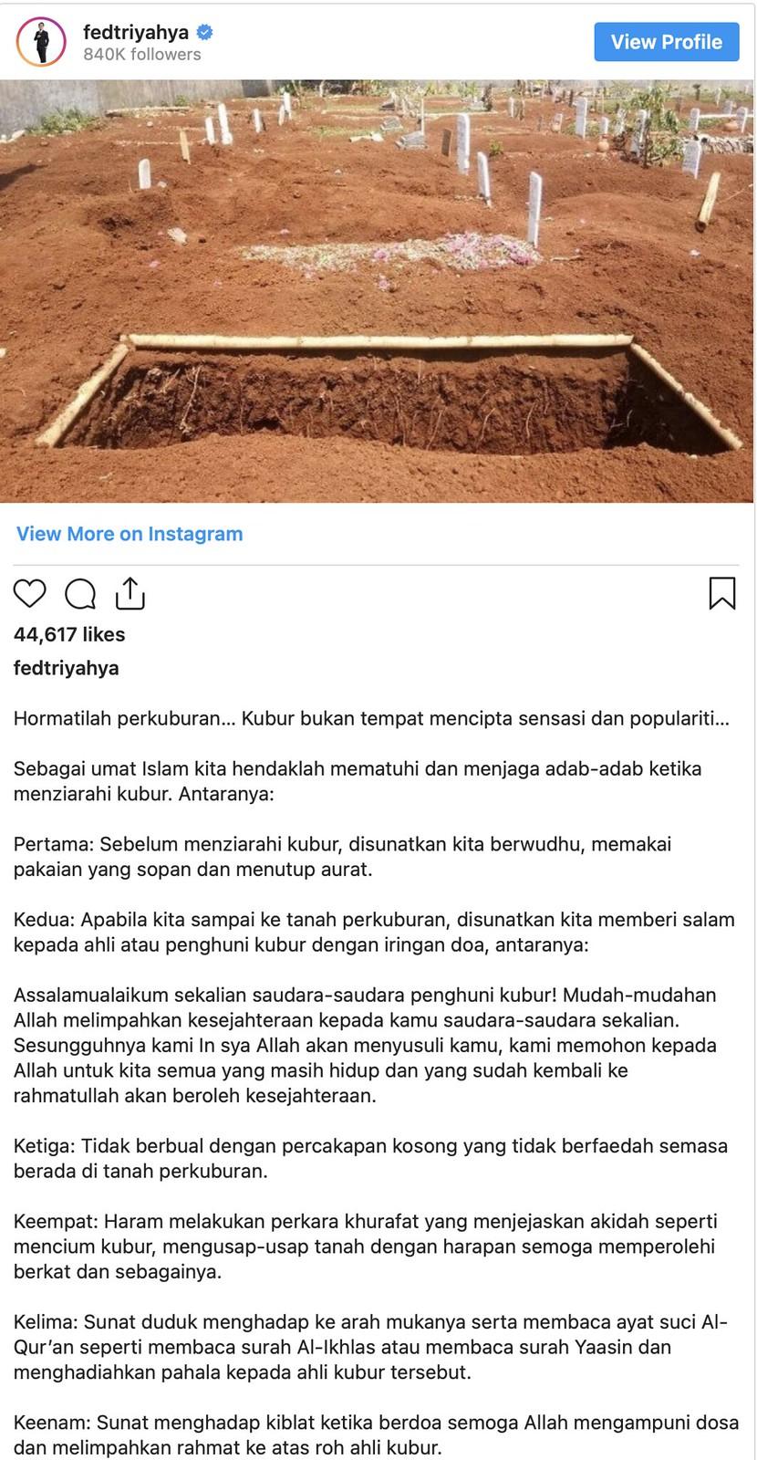 """""""Kubur Bukan Tempat Cipta Sensasi Dan Populariti.."""" - Ahmad Fedtri Yahya"""