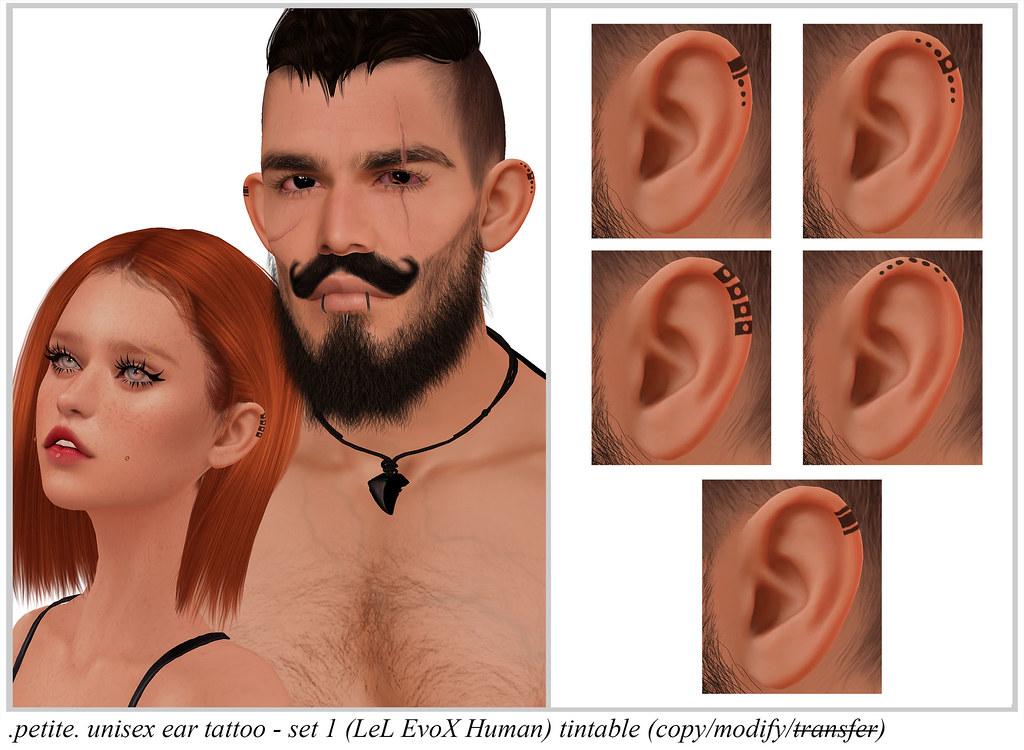 .petite. unisex ear tattoo – set 1 (LeL EvoX Human) tintable