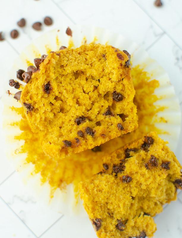 Pumpkin chocolate chip muffin split in half