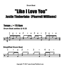 ★ Like I Love You (Justin Timberlake) ★ FREE Drum Lesson | How To Play Drum BEAT (Pharrell Williams)